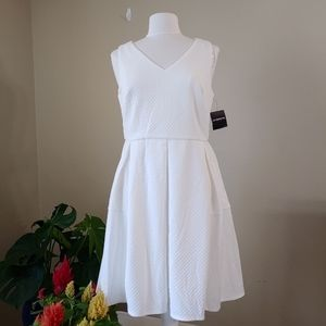 Liz Claiborne - Fit and Flare White Dress-Size 10